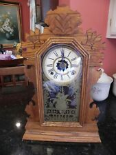 Antique Mantle Parlor Kitchen Gingerbread  Clock Works Key E.N. Welch with alarm