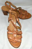 Franco Sarto Tan Faux Leather Strappy Ankle Strap Womens Heels Size 7 M