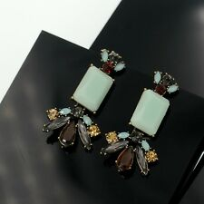 Earring Stud Gold LIght Blue Brown Grey Rectangle Crystal Pendant Vintage A2