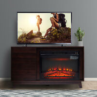 "Electric Fireplace Stand for TVs up to 50"" Media Table Contemporary Wood"