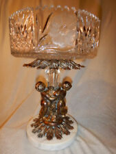 VINTAGE CRYSTAL CUT PEDESTAL BOWL ~ GOLD GILDED CAST METAL CHERUBS ~ MARBLE BASE