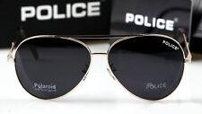 New style Men's POLICE sunglasses Driving glasses black Lens gold frame 8585