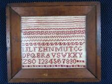 c. 1830's Folk Art Needlepoint Sampler with Patterns Letters and Numbers