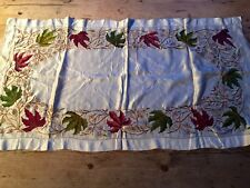 """VINTAGE SKILFULLY EMBROIDERED RARE SILK TRAY CLOTH / RUNNER 19"""" X 34"""""""