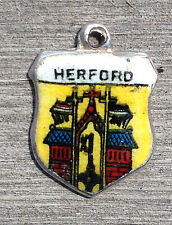 Vintage enamel HERFORD Germany silver travel bracelet souvenir shield charm