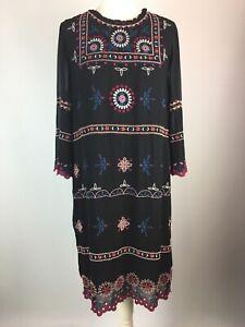 WHITE STUFF Black Boho Karena Dress UK 10 Embroidered Beaded Sheer Lined