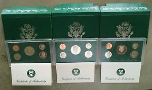 1994, 95 & 97 United States Mint Proof Set in Green Box with COA