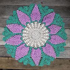 Vtg Handmade Doily Raised Purple Grapes 19 in.1950's Round Crochet LARGE