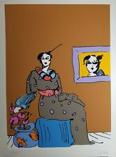 FALL SALE!   PETER MAX Original Serigraph Lady with Picture 1960 Vintage  Signed