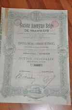 S.A. Belge de Tramways - Bruxelles 1896 - Action Ordinaire - Capital Social