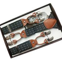 New Men Suspenders Y-Back Clip On Braces Argyle Elastic Belt Clothes Accessories