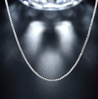 """Fashion Solid 925 Sterling Silver Trace Chain Necklace 16""""18""""20""""22""""24"""" Inch Box"""