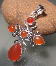 925 sterling silver cabochon orange carnelian multi-stone pendant. Gift bag.