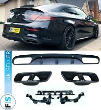 MERCEDES C-CLASS COUPE C205 A205 C63S AMG LOOK REAR DIFFUSER BLACK TAILPIPES