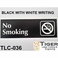 NO SMOKING Sign WITH GRAPHIC-BLACK & WHITE WRITING - 20CM X 6CM OR 8IN X 2.67IN