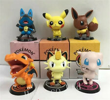 6PCS Pokemon Pikachu Charizard Mewtwo Meowth PVC Figure Figurine 7-9cm