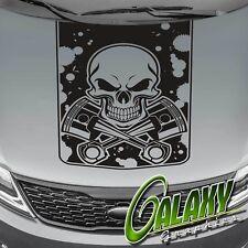 Pistons & Skull Truck Hood Decal Matte Black Sticker- Ram F150 Silverado Tundra