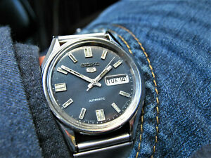 1981 Vintage SEIKO Automatic 6309 8230 GRAPHITE DIAL Retro 37mm Watch