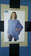 Celeste Poncho Wrap Shawl Blue Cotton Blend Women One Size New