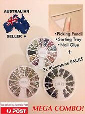 3x Rhinestone Nail Art Crystal Wheels Picking Pencil Sorting Tray Glue Combo