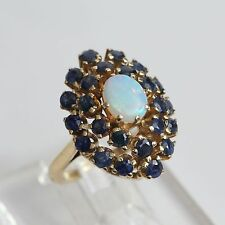 HEAVY VINTAGE SOLID 14K GOLD OPAL SAPPHIRE CLUSTER RING, 12.5 gms, size 6.5, VG!