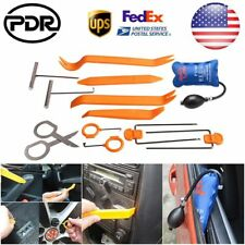 US 12× Car SUV Panel Removal Open Pry Tools Kit Dash Door Radio Trim + Air Pump
