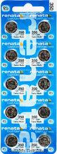 10 pc 350 Renata Watch Batteries SR1136SW 350 FREE SHIP 0% MERCURY