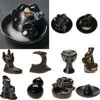Buddha Buddhist Ceramic Smoke Backflow Cone Censer Holder Incense Burner Decor
