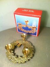 VTG SOLID BRASS CHRISTMAS WREATH HOLIDAY CANDLESTICK CANDLE HOLDER HOLLY BERRY