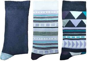 3 Pairs of Ladies JA53 Patterned Cotton Socks by Jennifer Anderton , UK Size 4-8