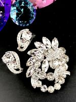 DAZZLING EISENBERG RHODIUM CRYSTAL RHINESTONE BRIDAL BROOCH CLIP EARRINGS SET