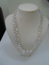"Retro Vintage Double Glass Bead 16""  Necklace ~ Party / Prom Wear"