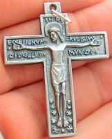 MRT Jesus Latin Crucifix Catholic Cross Pendant Medal Italian Made Holy Gift 1.5