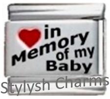 IN MEMORY OF BABY RH Laser Italian 9mm Charm IM003 Fits Nomination Classic
