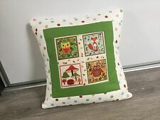 Handmade owl, fox & hedgehog patchwork cushion, home decor accent cushion, gift