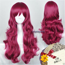 Akatsuki no Yona Princess Wigs Long Wavy Dark Red Hair Cosplay Wig + Wig Cap