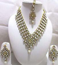 Indian Traditional Bollywood Gold Tone Kundan Bridal 4PS Fashion Jewellery Sets