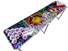 Alice in Vegas Psychedelic Beer Pong Table  with holes.