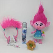 Trolls Toys Lot of 3 Hug Time Poppy Trolls Karaoke Microphone Troll Headphones
