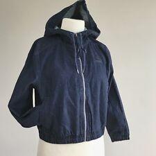 Puma womens T7 denim crop hooded track jacket small NEW blue full zip jean