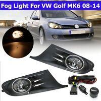 Front Bumper Fog Light Lamps Cover Switch Bulbs Kit For VW Golf MK6 2008-2014