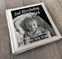 Personalised large photo album, memory book, 3 colour choice, 2nd birthday gift