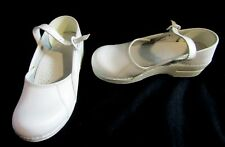 Dansko White Clogs Mary Janes w/ Strap & Buckle - Nurse Shoes - Size 37 or US 6