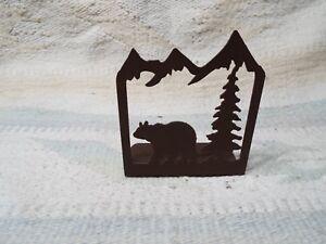Laser Cut Steel Candle Holder desk hunt cabin home decor GRIZZLY BLACK BEAR
