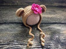 Newborn Baby Girl Flower Bear Bonnet Hat Crochet Animal photo prop Costume