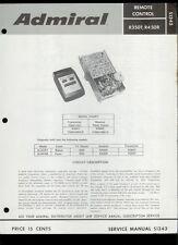 Rare Original Factory Admiral R350T R450R TV Remote Control Service Manual