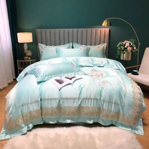 White Luxury Satin Silk Cotton Lace Embroidery Bedding Set Cover Set Bed Linen