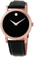 Movado Mens Black Dial Museum Swiss Quartz Leather Strap Rose Gold Watch 2100011