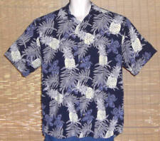 Keeler Bay Hawaiian Shirt Blue White Yellow Pineapples Flowers Leave Size Medium