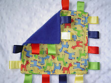 Baby or Royal Blue Fleece Taggy Comforter/Blanket, Horses